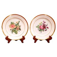 Pair of Deroche Paris Porcelain Floral Plates