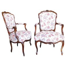 Pair of Provincial French Louis XV Fauteuils