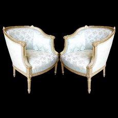 Pair Of Louis XVI Style Giltwood Bergères