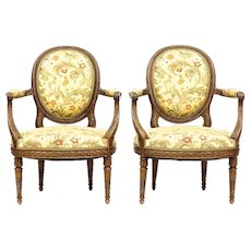 Pair of Finely Carved Louis XVI Style Armchairs