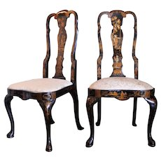 Pair of George I Style Black and Gilt Japanned Side Chairs