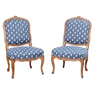Pair of Louis XV Carved Beechwood Chairs