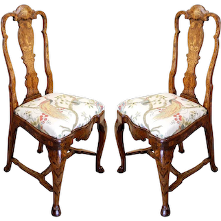 Pair Of Late 18th Century Dutch Marquetry Side Chairs With Hoof Feet