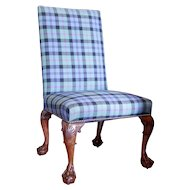 George II Mahogany Chair with Raked Back Legs and Ball and Claw Feet