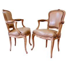 Pair of French Louis XV Style Carved Beechwood Armchairs (Fauteuils) Upholstered in Leather