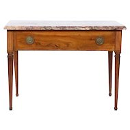 Italian Neoclassical Inlaid Console or Center Table with Marble Top
