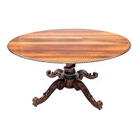 Anglo Indian Oval Rosewood Center Table or Breakfast Table with Carved Pedestal Base
