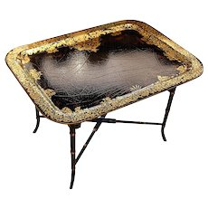 English Papier Mâché Painted and Gilded Tray Table