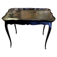 Louis XV Style Table with Chinese Lacquered Tray Top