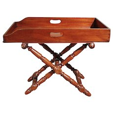 English Mahogany Butler's Tray on Stand Coffee Table