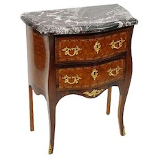 Louis XV Style Parquetry Marble Topped Mini Commode/Side Table