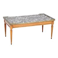 Louis XVI Style Marble Top Fruitwood Coffee Table