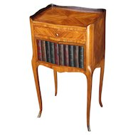 French Marquetry Occasional Table With Faux Bookshelf Front