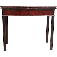 George III Mahogany Serpentine Front Game Table, 18th Century