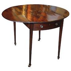 George III Period Plum Pudding Mahogany Oval Pembroke Table, 18th Century