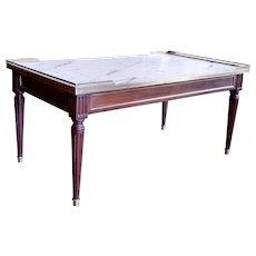 Louis XVI Style Marble Top Walnut Coffee Table