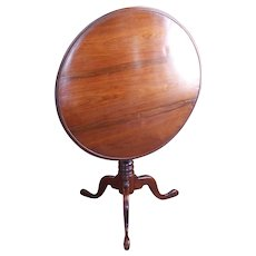 American Late Federal Walnut Tilt Top Table With Birdcage
