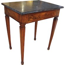 Italian Neoclassical Inlaid Marble Top Side Table
