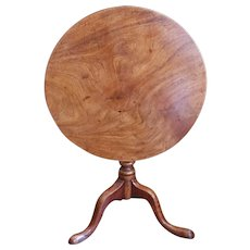 George III Provincial Figured Mahogany Tilt Top Table