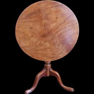 George III Provincial Figured Mahogany Tilt Top Table