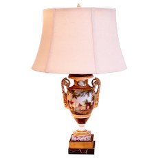 Paris Porcelain Vase Lamp with Harbor Scene