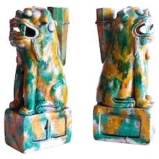 Pair of Kangxi Sancai Glazed Biscuit Chinese Foo Dogs