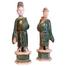 Pair of Chinese Ming Terra Cotta Figures