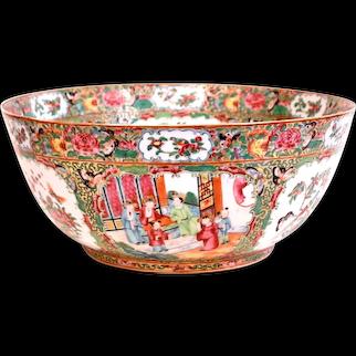 Rose Mandarin (Rose Medallion) Chinese Export Porcelain Punch Bowl