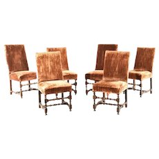 Set of Six Continental Baroque Walnut Stretcher Base Dining Chairs