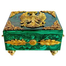 Luxurious handmade malachite and ormolu box with Eagle motif.