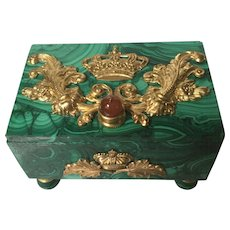 Malachite, Carnelian and Ormolu Decorative Box