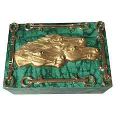 Equestrian-Themed Malachite Box with Ormolu and Malachite Feet