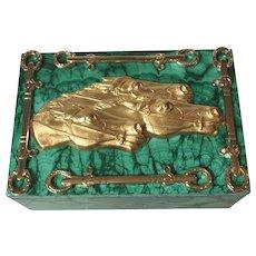 Equestrian-Themed Malachite Box with Ormolu and Malachite Feet