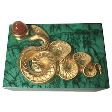 "Luxurious handmade malachite box with ormolu ""serpent"" and carnelian ""apple."""