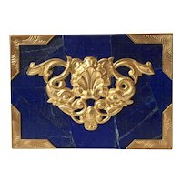 Large Lapis Decorative Box with Brass Ormolu in a Sea Motif