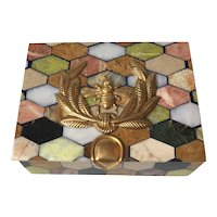 "Multi-Colored Marble ""Specimen"" Box with Napoleonic Motif"