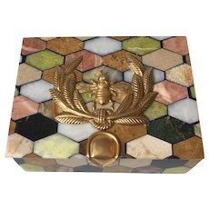 "Multi-Colored Marble ""Specimen"" Box with Napoleonic Motif"