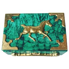 Malachite Box with Ormolu Equestrian Motif