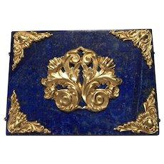 Deep Blue Lapis and Polished Brass Ormolu Filigree Decorative Box