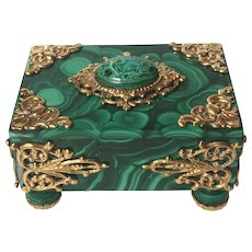 Malachite and Ormolu Filigree Box with Malachite Cabochon