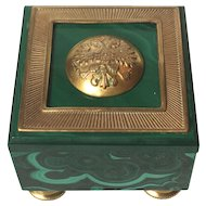 Ormolu-Mounted Malachite Box Topped with Russian Uniform Button