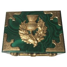 "Solid Malachite Box with Applied Ormolu in a  ""Scottish thistle"" Motif"