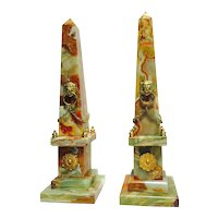 Pair of Neoclassical-Style Onyx and Ormolu Obelisks