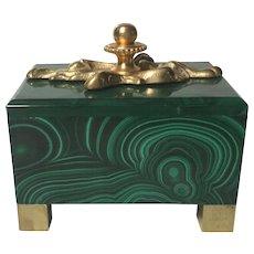 Art Nouveau-Style Solid Malachite Box with Ormolu Detail