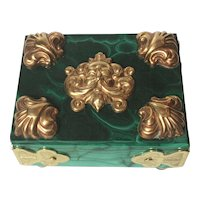 Malachite and Brass Ormolu Box with Green Man Motif