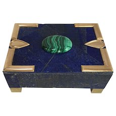 Large Lapis Normandie Box with Malachite Cabochon
