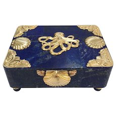 "Large ""La Mer"" Lapis and Ormolu Box with Octopus"