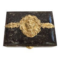 Italian Chocolate Brown Hinged Marble Box with Lion Head, Acanthus and Ram's Head