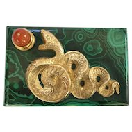 Solid Malachite Serpent Box with Ormolu and Carnelians