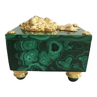Figured Malachite and Ormolu Lion Box with Crown